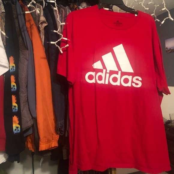 adidas Tops - ADIDAS RED SHORT SLEEVE SHIRT